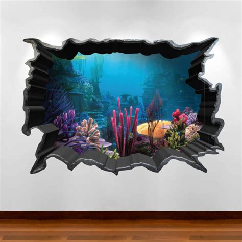 Wall Sticker 3d Bulat 3d Wall Sticker Model Bulat Bahan Kayu Ringan finding nemo aquarium 3d wall sticker decal boy