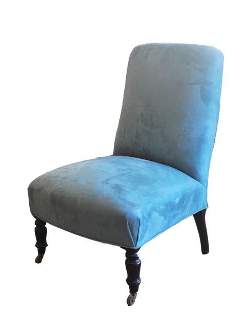 vintage slipper chair antique blue suede slipper chair mecox gardens