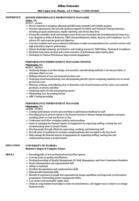Performance Resume by Performance Improvement Manager Resume Sles Velvet