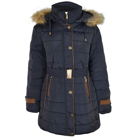 hooded padded coat womens plus size fur hooded winter coat quilted