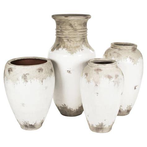 siena white rustic distressed white ceramic floor vase - Distressed Floor Vase