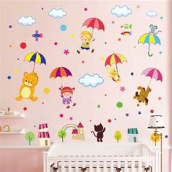 Wall Stickers Animals umbrella animals wall decals wall stickers for kids wall decals