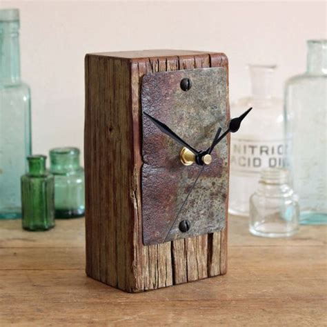 small desk clocks small driftwood and metal desk clock rustic mantel