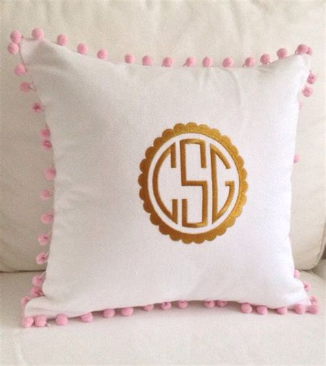 Gold Scallop Pillow by Gold Scalloped Monogram Pom Pom Pillow By Peppermintbee On