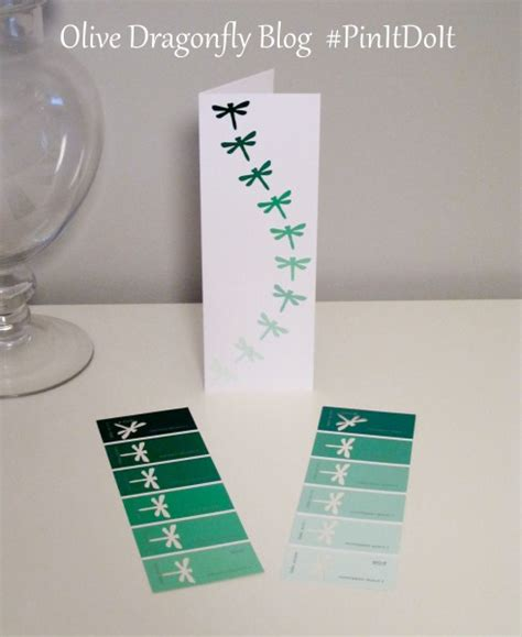 olive dragonfly christmas cards with paint swatches