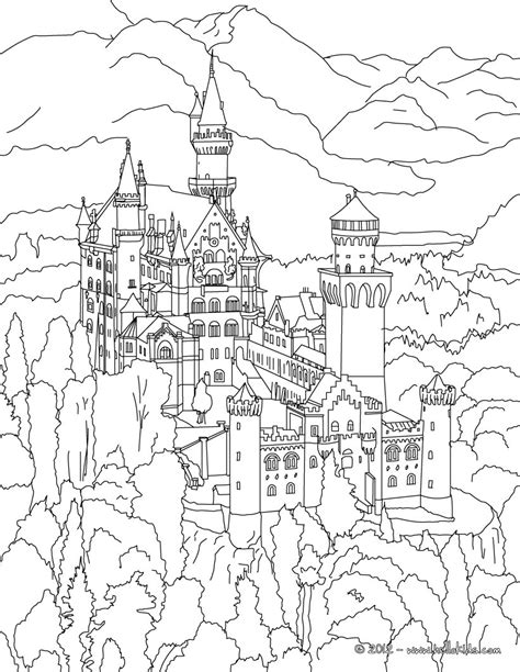 Neuschwanstein Castle Coloring Pages Hellokids Com Germany Coloring Page