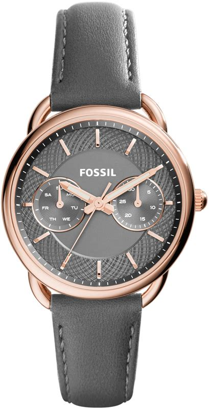Fossil Fs088 Grey Rosegold fossil tailor grey leather es3913
