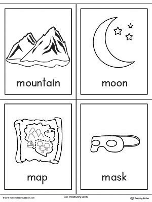 m words coloring page letter m words and pictures printable cards mountain