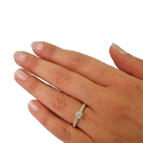 1 CT Round Diamond Side Stone Engagement Ring in 18k Gold