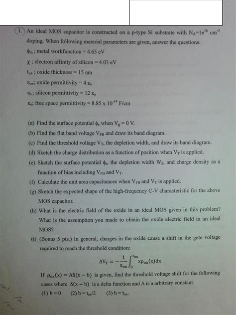 mos capacitor problems and solutions ideal mos capacitor problem solve it plz chegg