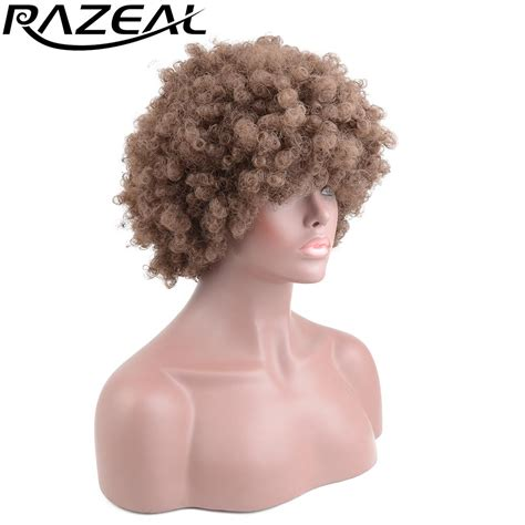 short pixie for kinky hair razeal short afro kinky curly synthetic wigs for black