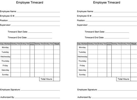 time cards template free free time card template printable employee time card