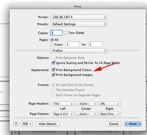 Unnamed Print Settings Pop Up Menu Open With Layout Apple Pages Background Color