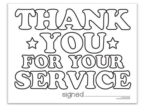 thank you for your service vale design coloringpages