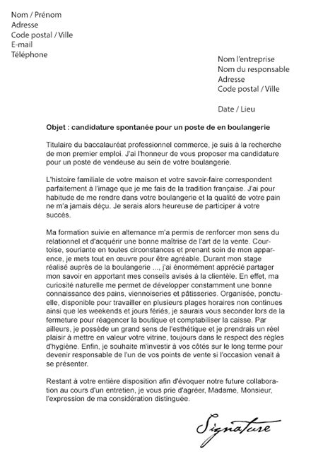 Exemple Lettre De Motivation Gratuite Vendeuse Lettre De Motivation Vendeuse En Boulangerie Mod 232 Le De
