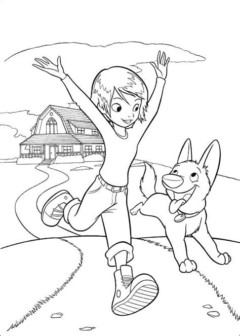 coloring pages of bolt the dog bolt and penny running coloring page