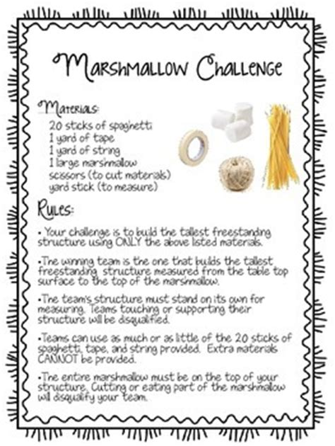 marshmallow challenge handout by a learning affair
