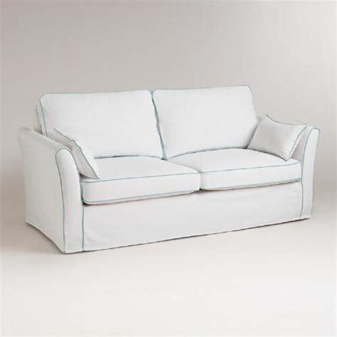 white sofa covers white and blue luxe sofa slipcover world market