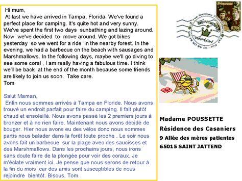 Lettre Présentation Anglais Correspondant Dialogue Une Carte Postale De Floride
