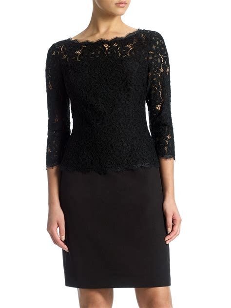 Lace Sleeve Cocktail Dress papell 3 4 sleeve lace cocktail dress in black lyst