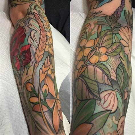 tattoo of us jade colorful flowers and spices sleeve in progress by laura