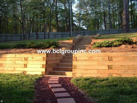 wood retaining wall stone walls pinterest