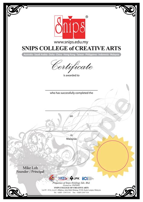 hair design certificate certificate 1 in hairdressing 187 skills malaysia invite