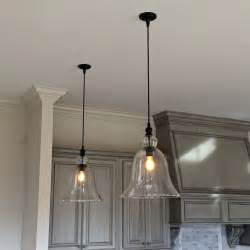 Hanging Light Fixtures Above Kitchen Counter Large Glass Bell Hanging Pendant