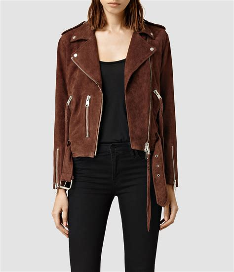 Allsaints Balfern Biker Jacket allsaints plait balfern biker jacket in brown lyst