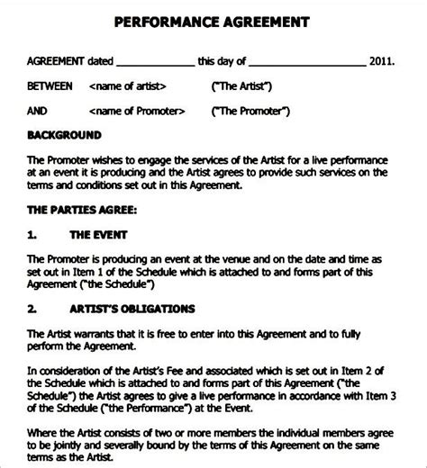 Performance Agreement Letter Sle Performance Contract Template Sle Templates