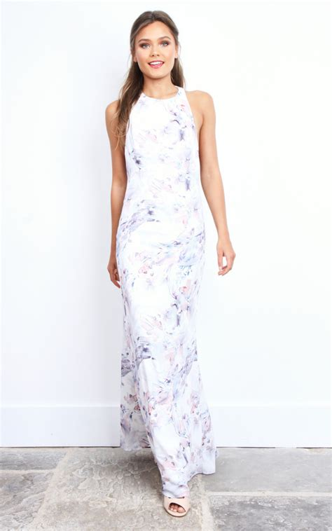 Dress Kalena kalena white floral low back maxi dress silkfred