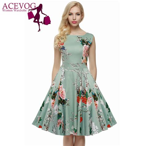 aliexpress buy acevog brand s 4xl dress retro vintage 1950s 60s rockabilly floral