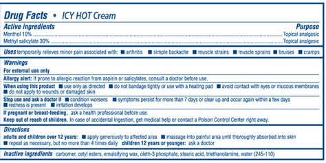 icy hot drug facts icy hot cream