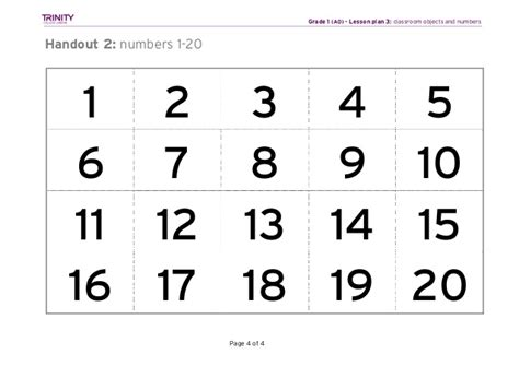 printable number square 1 20 gese grade 1 lesson plan 3 classroom objects and numbers