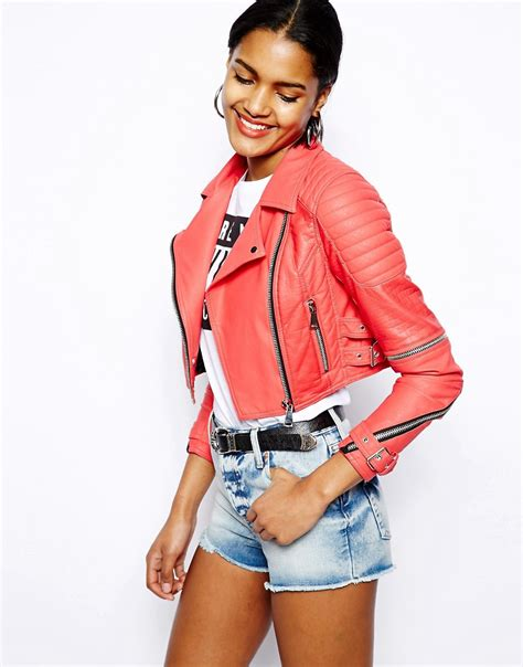 River Island Leather Cropped Jacket by River Island River Island Cropped Leather Look Biker