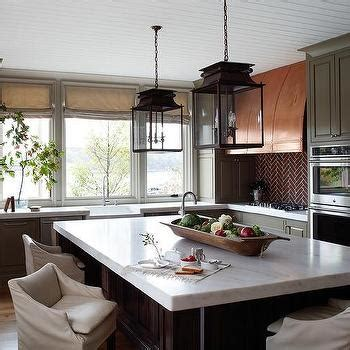 brick backsplash and copper hood would look great with copper kitchen hood design ideas