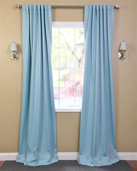 Aqua Blackout Curtains Aqua Polka Dot Blackout Back Tab Pole Pocket Curtain Panel Contemporary Curtains By