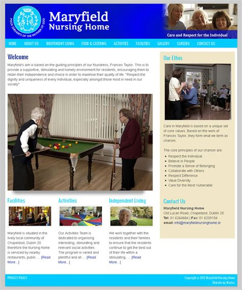 maryfield nursing home website design web design galway