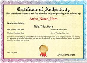 certificate of authenticity templates authenticity original painting template