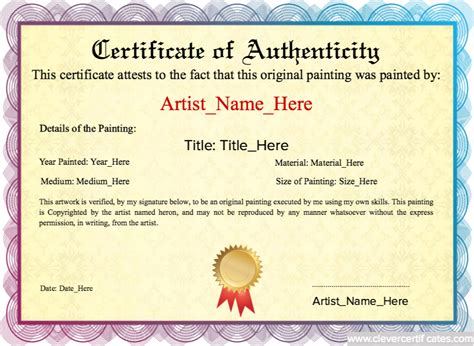 artist certificate of authenticity template authenticity original painting template