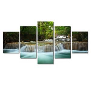 living room canvas art 5 panel waterfall painting canvas wall art picture home