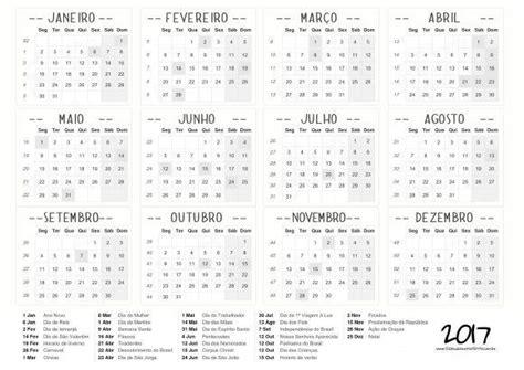 Calendã 2017 Feriados Para Imprimir Calend 225 2017 Feriados Para Baixar E Imprimir Toda