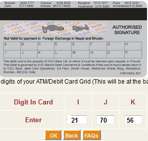 bank of india debit card secure code how to find icici debit card grid number