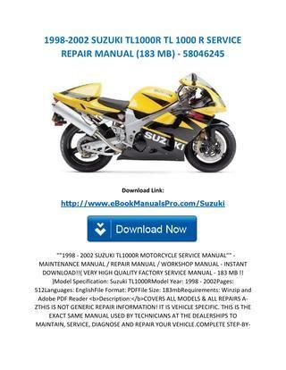 service repair manual free download 1998 suzuki x 90 lane departure warning 1998 2002 suzuki tl1000r tl 1000 r service repair manual 183 mb 58046245 by ebookmanualspro