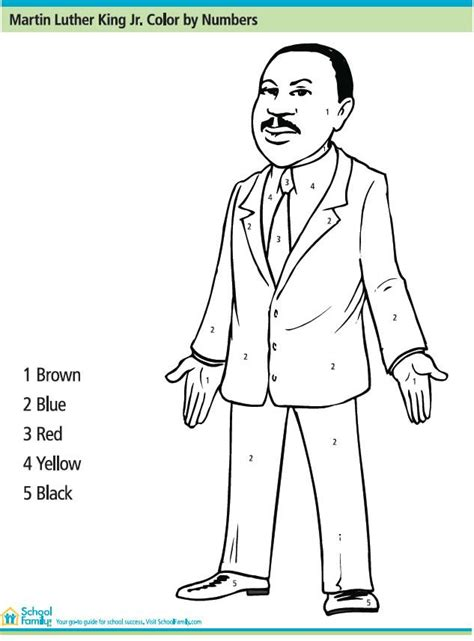 martin luther king printable activity sheets martin luther king jr color by number printables for