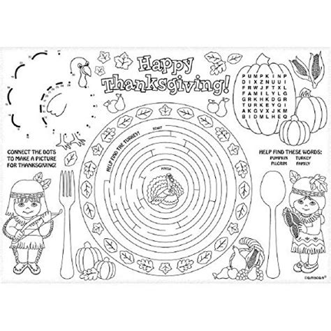 thanksgiving coloring placemats thanksgiving placemats