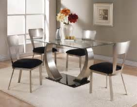 Glass Dining Room Tables And Chairs by Acme Camille 5 Pc Glass Top Metal Base Rectangular Dining