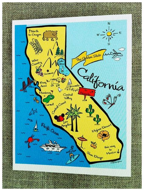 california state color california state map color note card
