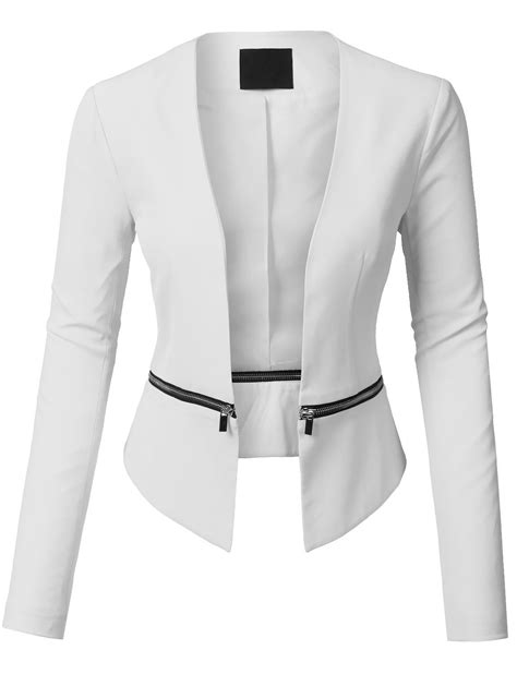 Style Ideas 50s Style Cropped Colllarless Jacket by Womens Textured 3 4 Sleeve Open Blazer Jacket Clearance