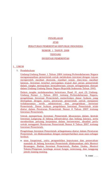 Himpunan Peraturan Kepegawaian Negara Republik Indonesia Tahun 2008 peraturan pemerintah no 1 tahun 2008 tentang investasi pemerintah